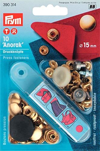 Prym 390314 Nähfrei-Druckknopf Anorak Messing 15 mm goldfarbig, Metal