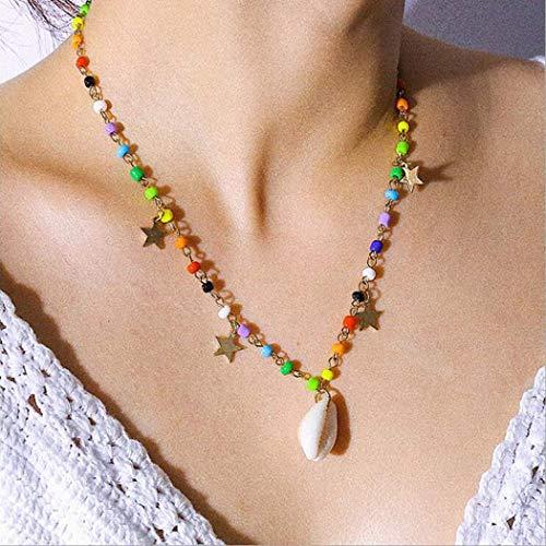 Aukmla Boho Sand Beach Collana Oro conchiglia Stella Ciondolo Collane Catena Perline colorate Accessori gioielli per donne e ragazze