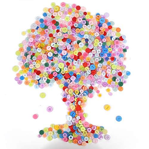 NACTECH 800 piezas Botones Costura de Colores para Ropa Niños Botone de Costura para Blusa de Bebé Botones con 2/4 Agujeros para Camiseta Ropa para Niños Artesanía DIY