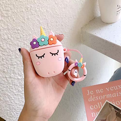 SevenPanda Funda Airpods, 3D Funda de Airpods Linda de Dibujos Animados de Silicona Suave, Fundas de Auriculares Recargables, Funda para Apple AirPods 1ª / 2ª Funda - Unicorn Flower Pink