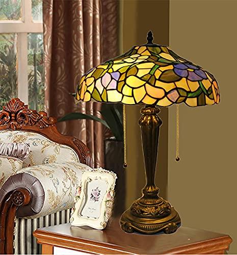 14 pulgadas de estilo Tiffany Lámpara de mesa de 20 pulgadas de alto vitroceras de flores de la cama de la cama de la cama de la noche de la luz de la luz de la lámpara de la lectura del vintage