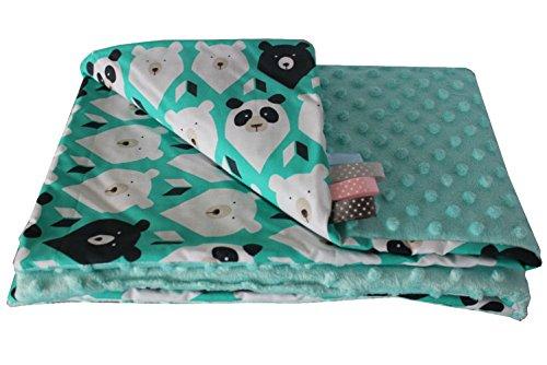 Manta para bebé (50 x 75 cm), diseño de oso polar, color verde y turquesa