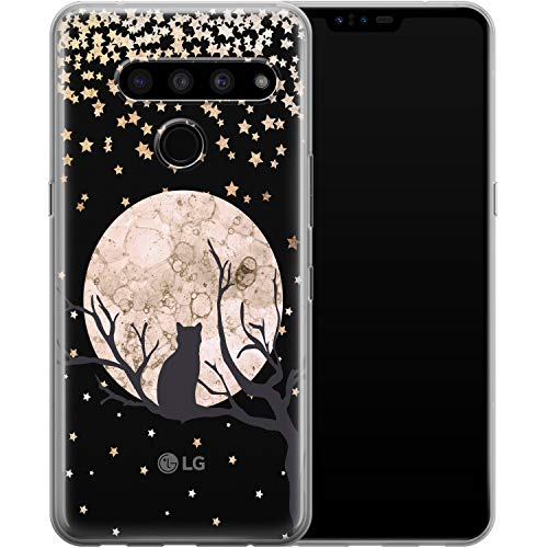 Vonna Phone Case for LG G8 ThinQ G7 One G6 V50 V40 V35 V30 Plus V20 W30 Girls Cat Kawaii Cover Kitten Teen Silicone Soft Black Animal Moon Smooth Print Design Flexible Lightweight Cute Kids a024