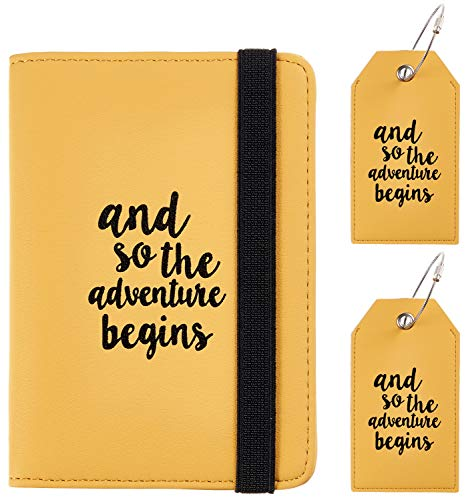 Casmonal Passport Holder Cover Wallet RFID Blocking Leather Card Case Travel Document Organizer(Napa Yellow with 2 Tags)