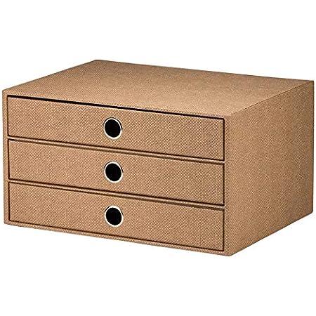 Rössler S.O.H.O. 1524452603 Boîte de rangement à 3 tiroirs pour format A4, avec trou de préhension, ligne spéciale Hazelnut, 1 pièce