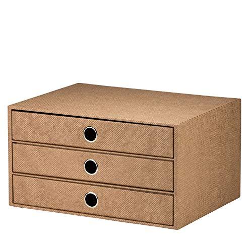 Rössler 1524452603 - S.O.H.O. 3er Schubladenbox für DIN A4, mit Griffloch, Special Line, Hazelnut, 1 Stück