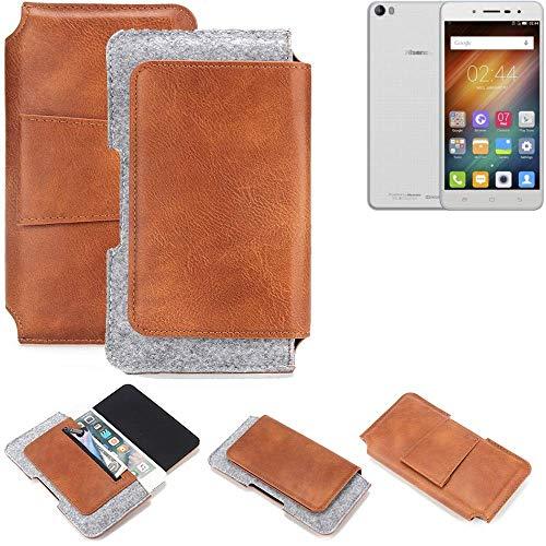 K-S-Trade® Schutz Hülle Für Hisense L695 Gürteltasche Gürtel Tasche Schutzhülle Handy Smartphone Tasche Handyhülle PU + Filz, Braun (1x)
