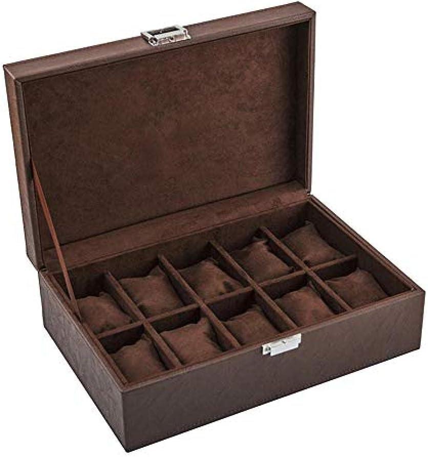 T.T-Q Caja de Reloj de Cuero de 10 dígitos Cajas para Relojes Caja de Almacenamiento Pulsera Caja de Almacenamiento de joyería Regalo de cumpleaños joyero 28 * 20 * 16,5 cm