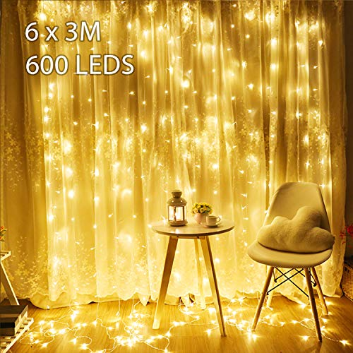 6M x 3M LED Lichtervorhang Avoalre 600 LEDs Lichterkette Vorhang (max. 3 Sätze) Erweiterbar mit Stecker 8 Modi Strombetrieb Deko Warmweiß für...