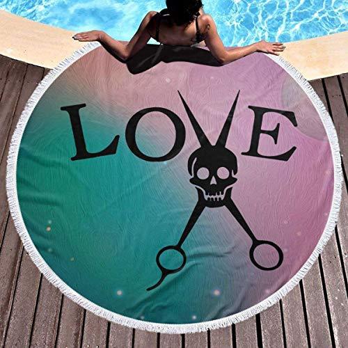 Love Skull Round Toalla de playa Manta Microfibra Terry Estera de yoga Toalla Soft Beach Roundie Circle 59 Pulgadas Alfombra de picnic