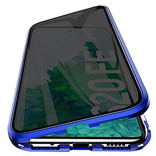 PHOVOLT Funda magnética para Galaxy S20 FE 5G, vidrio templado de doble cara con protector de pantalla integrado 360° cuerpo completo marco de metal cubierta (azul)