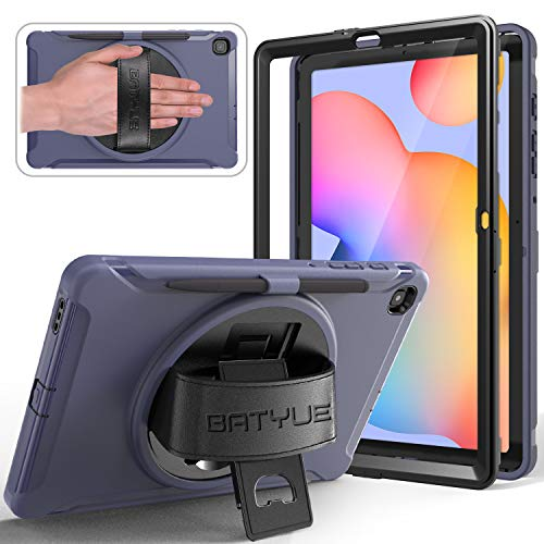 BATYUE Case for Samsung Galaxy Tab S6 Lite 10.4 2020 (SM-P610/SM-P615) with Screen Protector/Pencil Holder, [Full-Body] 3 Layer Hybrid Drop Protection Case w/ 360° Rotating Stand/Hand Strap (Blue)