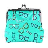 Carteras para mujer lindas gafas de diseño popular accesorios de niña carteras con cierre de beso para hombre cambiador de monedero para mujeres y niñas de 4.5 x 4.1 pulgadas