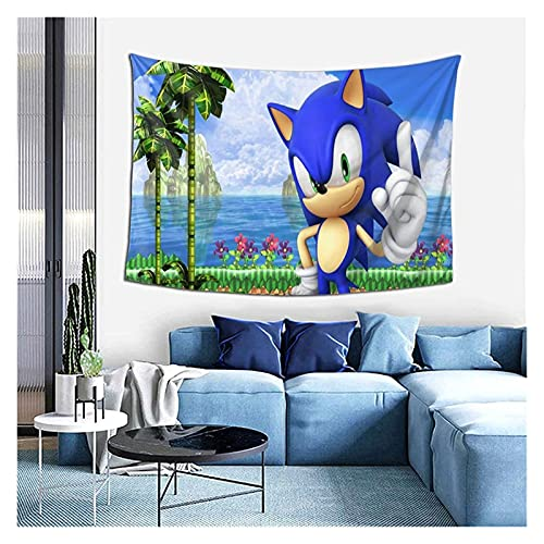 YWJFASHION Tapiz de Tela de Pared de Dibujos Animados Anime Art Tapices de Pared Póster de Sonic The Hedgehog, para decoración de Paredes y Salas