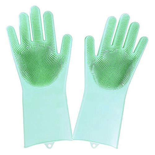 Louis Donné Magic Silikon-Handschuhe, wiederverwendbar, Waschschrubber, hitzebeständig, ideal für Haushalt, Geschirrspüler, Auto, Tierhaarpflege und Massage, 1 Paar (mintgrün)