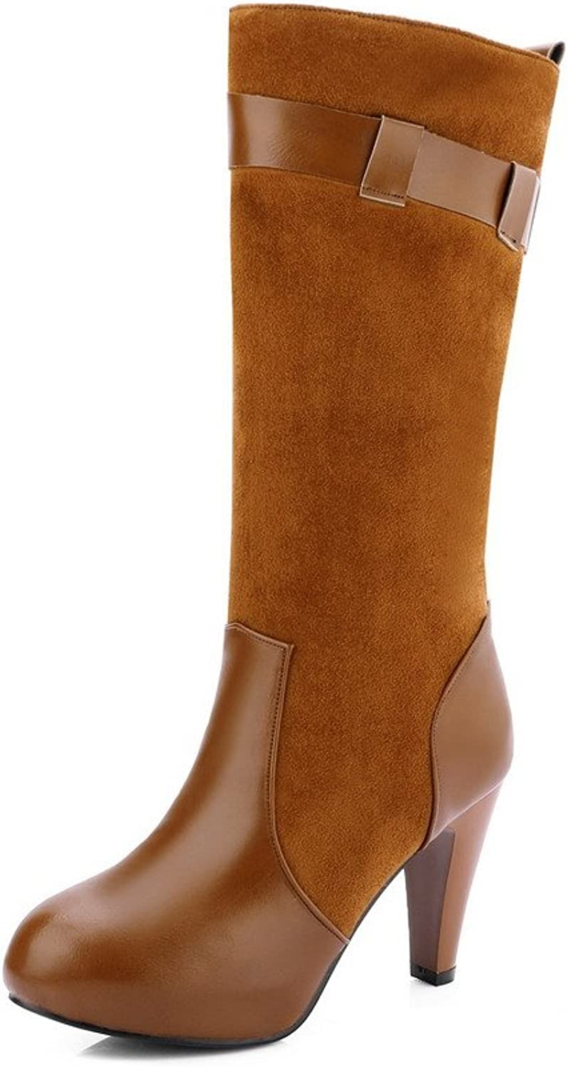 WeiPoot Women's High-Heels Soft Material Mid-top Solid Pull-on Boots