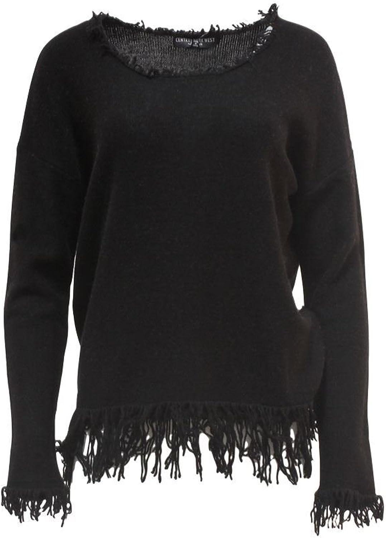 Central Park West  Fringe Scoop Neck Sweater