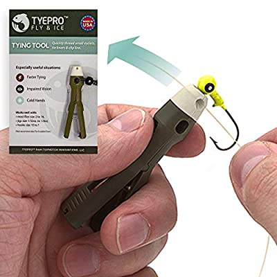 TYEPRO Fly & Ice Knot Tying Fishing Tool with Soft Grip, Stainless Steel Line Cutting Clipper (FREE Breakaway Lanyard and O-ring Included, for additional clamping force)...All American-Made