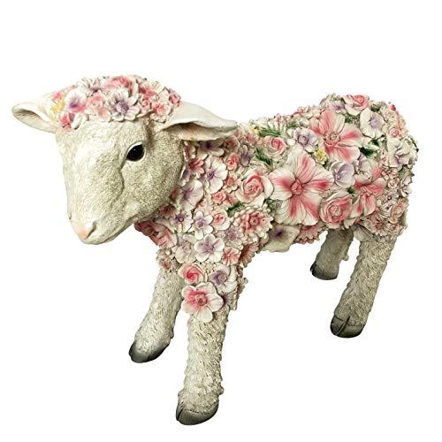 OF Gartenfiguren Schaf mit Blumen verziert - Dekofiguren für außen - Wetterfest (Schaf stehend)