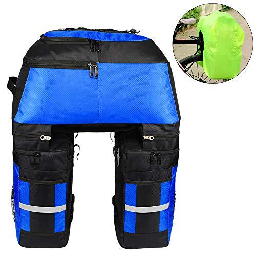 Lixada Bolsas multifuncionales para alforjas de bicicleta - Bolsa de asiento trasero grande resistente a la rotura de 70 L 3 en 1 [azul]