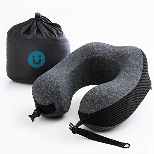 Bedsure Travel Neck Pillow Portable Memory Foam Pillow for Airplane with Washable Cover& Storage Bag
