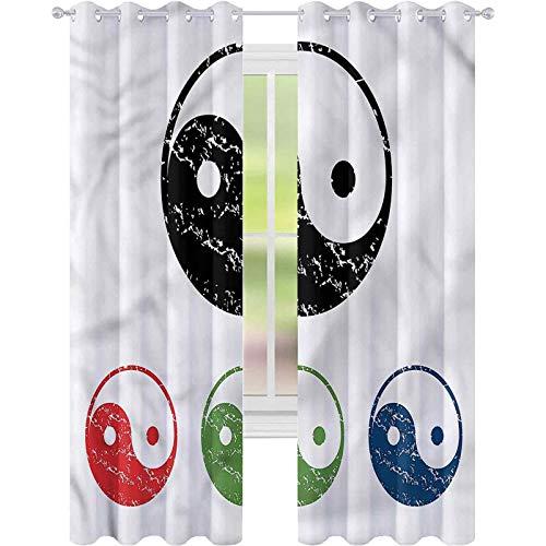 Cortinas opacas para dormitorio Ying Yang Cuatro Elementos Tierra Agua W52xL72 Cortinas...