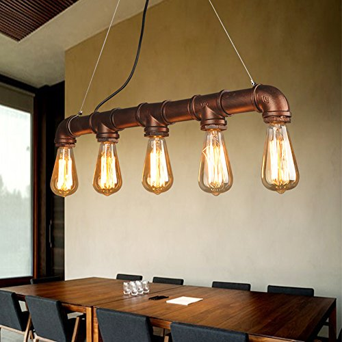 Rétro Industrielle Style Water Pipe en Forme de Porte Pendentif E27 Industrielle Vintage Style Metal Hanging Light Shade