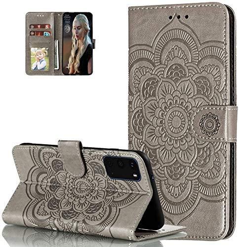 LEMAXELERS Carcasa iPhone 13 Pro MAX,Funda iPhone 13 Pro MAX Flor de Mandala en Relieve Carcasa de Tipo Libro con Ranuras para Tarjetas de Soporte y Solapa con Cierre magnético Case,LD Mandala Gray