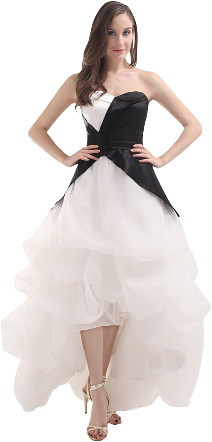 Vampal Black And White Strapless Sweetheart Organza Prom Dress With Pick Up