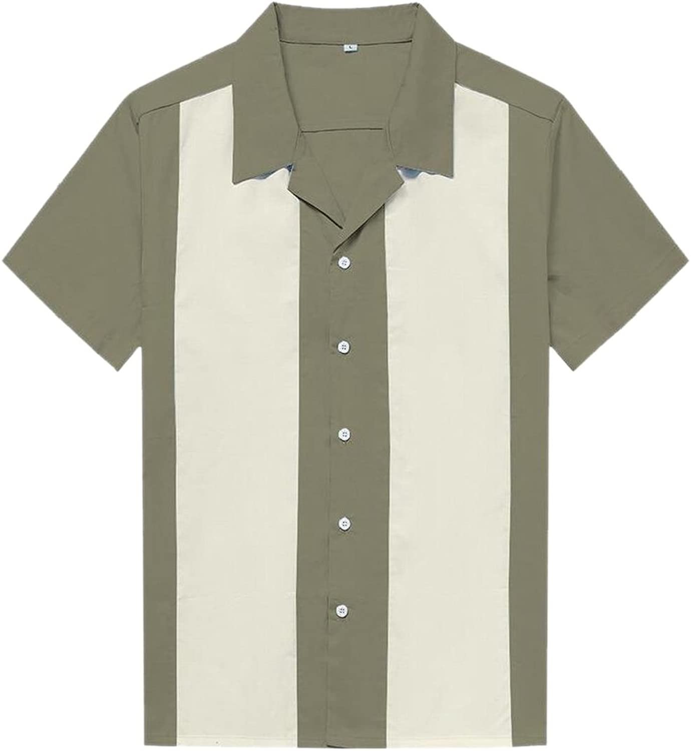 - Generic Mens 50s Male Clothing Rockabilly Style Casual Short Short Short Sleeves Shirt f24672