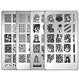 Ejiubas Nail Stamping Plates Set Double Sided Nail Art Stamping Kits Girls Pets Image Plates Nail Art Design EJB-X10 X16