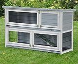 nanook Kaninchenstall, Hasenstall Meerschweinchen Flauschi grau, doppelstöckig, wetterfest - 122 x 49 x 83 cm, Farbe: grau