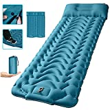 """Camping Sleeping Pad,SUPIPRO Newest Inflatable with Foot Press Sleeping pad Pillow, Large Size 4""""-Thick, Portable Waterproof and Compact Air Mattress for Camping,Hiking,Beach… (Dark Peacock Blue)"""