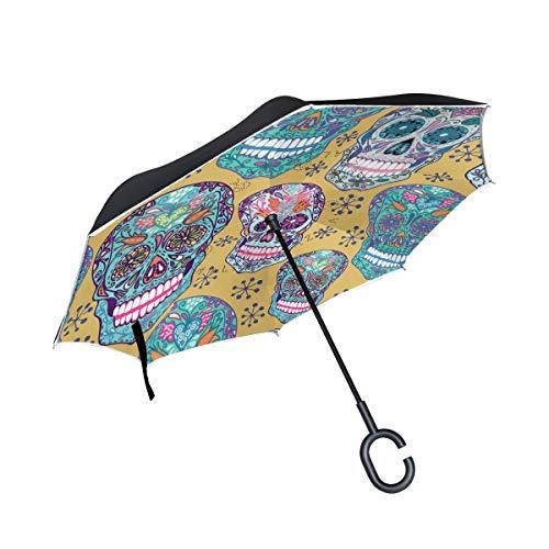 XiangHeFu Doble Capa Invertida Umbrellas Happy Colorido Azúcar Cráneo Patrón Plegado a Prueba de Viento Protección UV Gran Recto para automóvil con Mango en Forma de C