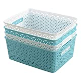 Farmoon Weave Plastic Basket, Woven Storage Baskets Orgainzer, 4 Packs