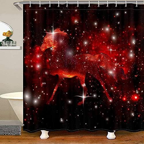 Pferd Badevorhang Rot Krawatte Färbestoff Duschvorhänge Fantasy Marmor Duschvorhang Kinder Erwachsene Glitzer Feen Tiere Sternenhimmel Wasserdichter Vorhang Sets 72