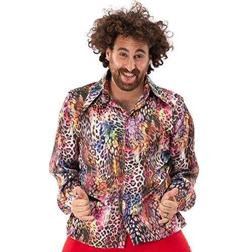 Original Replicas Mehrfarbiges Leopardenhemd Falsches ASO Panther Disco Dance Party Pimp Shirt L - XS bis 3XL