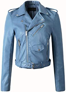 Women Faux Leather Jackets Lady Bomber Motorcycle Cool Outerwear Coat with Belt,Blue,XL