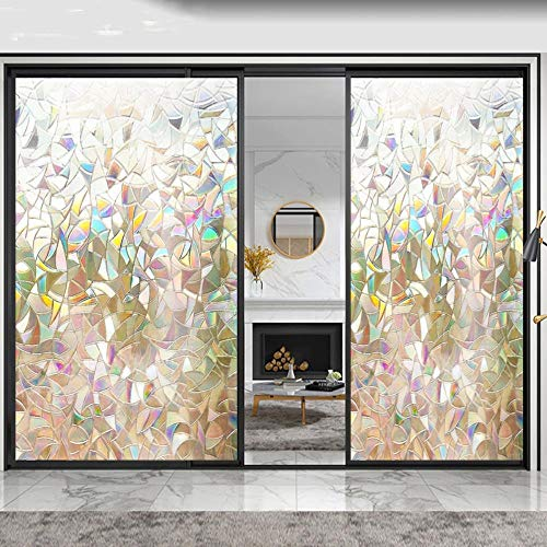 90cmx2500cm Roll Window Film 3D Fashine rainbow Static House Office Decor Removable Window Sticker Beautiful sticker