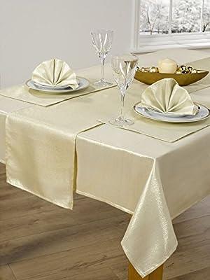 "14 Piece Metallic Sparkle Table Cloth Set 72"" 90"""