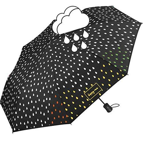 happy rain Paraguas de color negro que cambia de color cuando llueve, Negro (Multicolor) - 42300