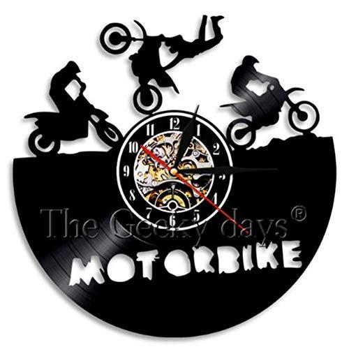 THj Reloj de Pared con Disco de Vinilo, diseño de Motocicletas Triumph Vintage, Reloj de Sala de Estar, silencioso, Grande, Decorativo para Marido, Regalo para niños-d 12 Pulgadas