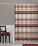 red and brown stripes shower curtain