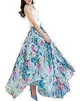 Afibi Women Floral Long Skirts Chiffon Summer Beach High Waisted Maxi Skirts (Small, S-65)