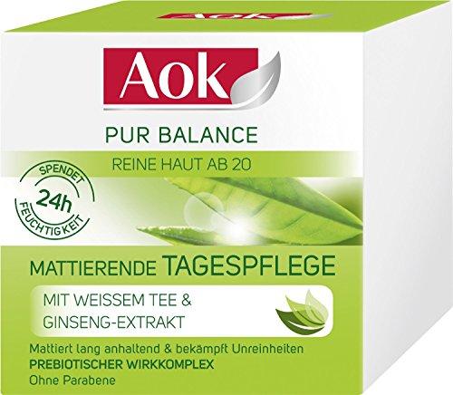 3 x Aok Pur Balance Mattierende Tagespflege/ je 50ml/ Reine Haut ab 20/ 24h Feuchtigkeit/ Tagescreme/ Gesichtscreme