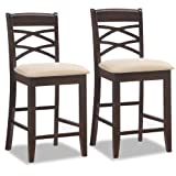 """Hand applied Wenge finish on a durable solid hardwood frame Comfortable padded and upholstered beige microfiber seat Double Cross back design 24"""" Counter height seat Ships in a set of 2 Simple Assembly in minutes Dimensions-18.5 W x 18 L x 40.5 H inc..."""