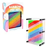 Invero Rainbow Multicolor Retro Pin Art Impression Toy Pin Art Impression Toy Pin de plástico ideal para escritorio, oficina, hogar, novedad Gadget – 17.7 x 12.7 cm