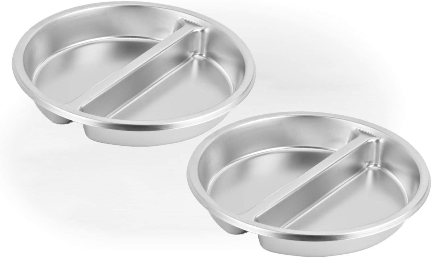 2 Pack ChefQ 2.5 Inch Deep Round Divided Food Pan for 6 Qt Chafing Dish Anti-Jam Stainless Steel Steam Table/Hotel Pan, Round Sectional