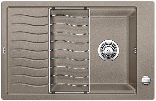 Blanco Elon XL 6 S, Küchenspüle aus Silgranit PuraDur, reversibel, Tartufo / inklusive Tropfgitter im Wellendesign und Ablauffernbedienung, 518743