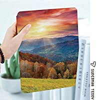 軽量版IPad ケース iPad2 ケース iPad3 ケース iPad4 ケース スタンド機能 レザー(PU) オートスリープ 傷つけ防止 2つ折タイプ iPad2/3/4世代専用スマートカバー山の秋の風景と夕焼け写真プリント